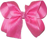 Hot Pink Chiffon Glitter over Hot Pink Large Double Layer Bow