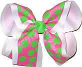 Hot Pink with Green Dots over White Large Double Layer Bow