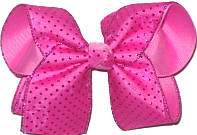 Chiffon with Shocking Pink Glitter Dots over Pixie Pink Large Double Layer Bow