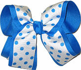 White with Blue Dots over Blue Large Double Layer Bow