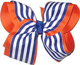 Century Blue and White Stripe MEGA Extra Large Double Layer Bow
