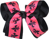 Black and Black and Hot Pink Large Double Layer Bow