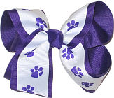 White and Purple over Purple Large Double Layer Bow