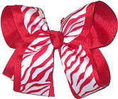 Red and White Zebra over Red Large Double Layer Bow