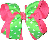 Green with White Dots over Neon Pink Large Double Layer Bow