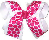 White with Shocking Pink Dots over White Large Double Layer Bow