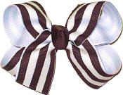 White and Brown and White Stripe Medium Double Layer Bow