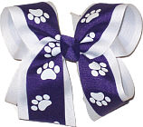 Purple and White over White Large Double Layer Bow