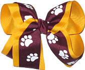 Large Burgundy and White over Yellow Gold School Bow