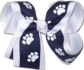Large Navy and White over White School Bow