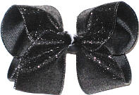 Black Glitter over Black Large Double Layer Bow