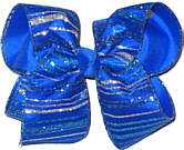 Silver and Blue Glitter Stripe Chiffon over Electric Blue Large Double Layer Bow