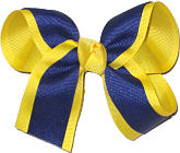 Maize and Light Navy Medium Double Layer Bow