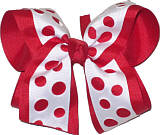 Red and White Large Double Layer Bow