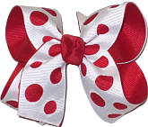 White and Red Medium Double Layer Bow