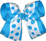 Turquoise and White Large Double Layer Bow