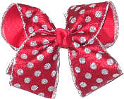 Sliver Glitter Edge Chiffon With Silver Glitter Dots over Red Large Double Layer Bow