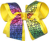 Rainbow Background Peace Sign over Maize Large Double Layer Bow