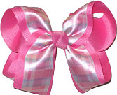 Pink White Blue over Hot Pink Large Double Layer Bow