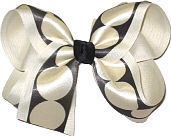 Black with Ivory Dots over Light Ivory Large Double Layer Bow