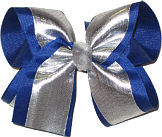 Silver/Century Blue with Silver Knot Large Double Layer Bow
