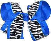 Black and White Stripe over Electric Blue Large Double Layer Bow