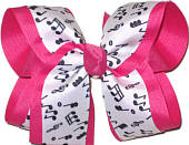 Music Nots on White over Shocking Pink Large Double Layer Bow