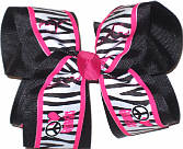 Hot Pink Gymnastics with Balck and White Zebra Stripes over Black Large Double Layer Bow