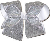 Silver Glitter over White Large Double Layer Bow
