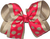 Red and Khaki Large Double Layer Bow