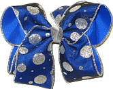 Silver Dot Glitter Chiffon over Electric Blue Large Double Layer Bow