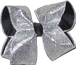 Silver Glitter over Black Large Double Layer Bow