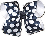 Large Navy with White Dots over White School Bow