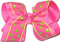 Toddler Hot Pink with Bright Green Dots Dots