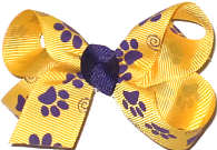 Small Yellow Gold with Purple Paw Prints Small
