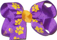 Small Purple with Yellow Gold Paw Prints Small