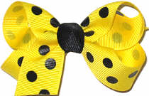 Small Maize with Black Dots Polka Dot Bow