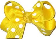 Small Maize with White Dots Polka Dot Bow