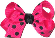 Small Shocking Pink with White Dots Polka Dot Bow