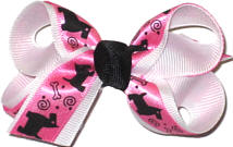Small White with Pink and Black Satin Scotty Dog Overlay Small