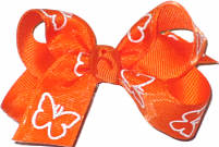 Small Chiffon Butterfly Overlay over Orange Grosgrain Small