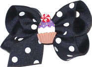 Toddler Grosgrain Navy with White Dots and Cupcake Miniature Miniatures or Corkers