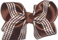 Toddler Brown with Brown and White Checked Satin Overlay Checks and Plaids
