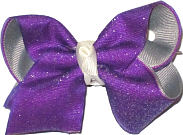 Toddler Purple Glitter over Gray with Antique White Knot Chiffon Glitter