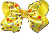 Toddler Yellow Satin Multidot Over Yellow Grosgrain Dots