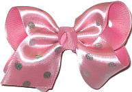 Pink Satin With Silver Dots Over Pink Grosgrain Dots