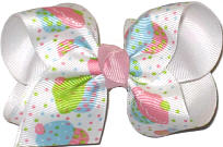 Toddler Cupcake With Multidots Over White Grosgrain Printed Pattern