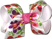 Toddler Satin Flower Print Over White Grosgrain Floral