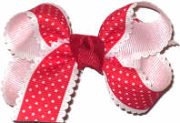 Small Looped Red with White Pin Dots and Scalloped Edge Small