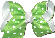 Apple Green with White Dots over White Grosgrain Dots